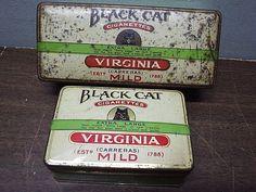 2 Black Cat Carreras Virginia Cigarette Tobacco  Tins Arcadia Works City Road
