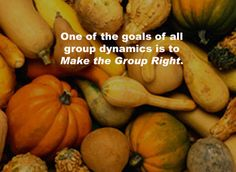 """One of the goals of all group dynamics is to Make the Group Right.""  From Michael Grinder's book:  Inside Track"