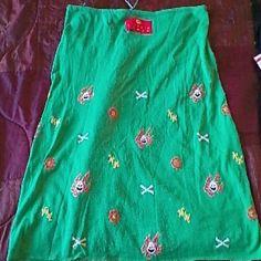 MIRACLE WOMAN GREEN THIN KNIT PENCIL SKIRT 100% COTTON GREEN SKIRT SOFT PUMPKIN HEAD KNIT DETAIL RARE SIZE S/M MIRACLE WOMAN Skirts Mini