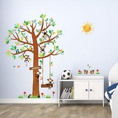 Cute Decowall Kleine Affen Baum Wandsticker Wandaufkleber Wandtattoo Kinderzimmer
