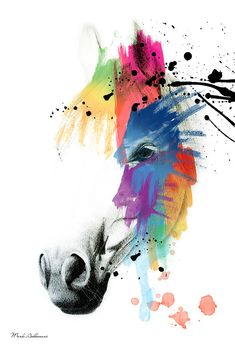 Horse On Abstract   Painting by Mark Ashkenazi