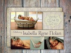 Baby Girl Birth Announcement by FEDigitalCreations on Etsy, $12.00