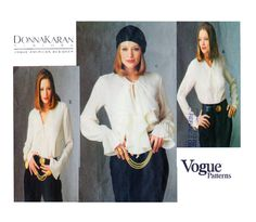DKNY VOGUE 1187 Jabot Poets Blouse / Button Front Three Collar Styles and Ruffled or Button Cuff Option Size 8-10-12 - UNCUT by FindCraftyPatterns on Etsy