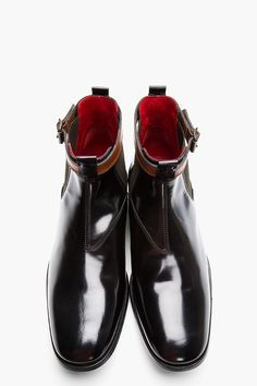 ALEXANDER MCQUEEN Black Leather Ankle Strap Chelsea Boots