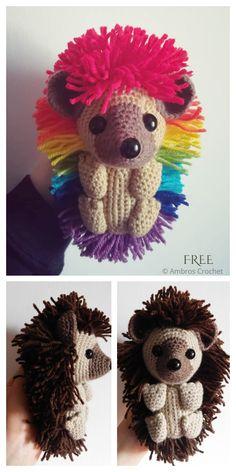 Crochet Hedgehog Punk Plush Toy Amigurumi Free Patterns Crochet Amigurumi Free Patterns, Crochet Blanket Patterns, Crochet Dolls, Weaving Patterns, Kawaii Crochet, Cute Crochet, Easy Diy Crafts, Yarn Crafts, Crochet Hedgehog