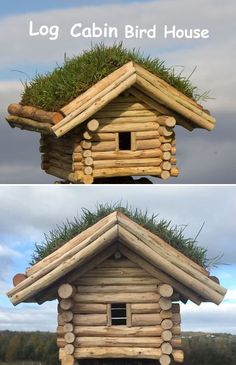 This birdhouse was made using small branches and sticks that had been broken or had fallen during a storm. This project was made using only hand tools. Decorative Bird Houses, Bird Houses Diy, Garden Projects, Wood Projects, Diy Log Cabin, Homemade Bird Houses, Bird House Plans, Rustic Gardens, Backyard Birds