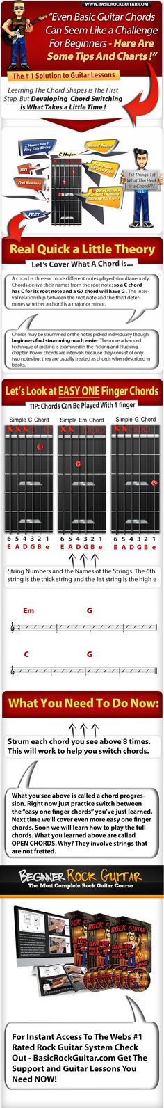Guitar Lessons For Beginners. Beginners can learn how to switch between simple one finger guitar chords. In this lesson we cover 2 chords. For more info: http://basicrockguitar.com