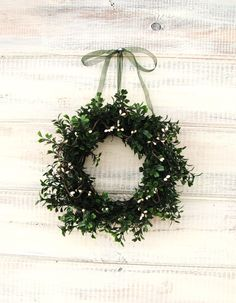 VANILLA MINT Scented MINI-Window Wreath-Country Cottage Wreath-Artifical Boxwood Wreath- Wall Hanging-Choose Scent
