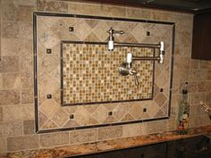 Crema Marfil Polished Stone Combinnation Copper Insert Metallic Glass Mosaic Backsplash Marble Tile With Chrome Swing Arm Faucet  Beautiful Kitchen Backsplash Decorating Ideas  ideas for tile backsplashes in kitchen. kitchen backsplash ideas for cherry cabinets. natural maple cabinets with granite countertops. photos of kitchen backsplashes. countertops and backsplash ideas. . 610x457 pixels