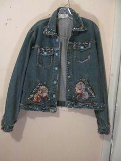 Mary Frances Blue Denim Embellished Jeweled Jean Style Jacket Sz L