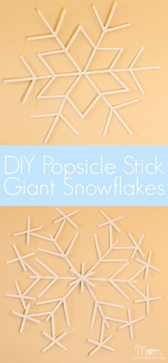 """DIY Popsicle Stick Giant Snowflakes - spray paint these white for a """"Frozen"""" party theme!"""