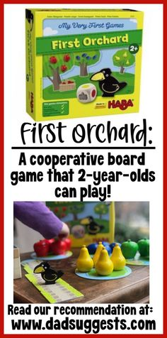 """First Orchard by HABA is the very first board game that our 2-year-old can play independently! It is the perfect """"gateway"""" game to introduce littles to the world of board games. The quality pieces and simple game play are awesome. Our 6-year-old has fun too, so it is the perfect game for family game night. This game would be a great addition to your game closet or a perfect gift for young kids! #boardgames #familygames #toddlergames #kidsgames #dadsuggests Board Games For Two, Board Games For Couples, Board Game Pieces, Family Board Games, Couples Game Night, Family Game Night, Cooperative Games, Games For Toddlers, Tabletop Games"""