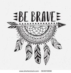 Boho template with inspirational quote lettering – be brave. Vector ethnic print… Boho template with inspirational quote lettering – be brave. Vector ethnic print design with dreamcatcher. Cute Doodle Art, Doodle Art Designs, Doodle Art Drawing, Drawing Quotes, Doodle Art Letters, Simple Doodle Art, Doodling Art, Design Art Drawing, Doodle Patterns