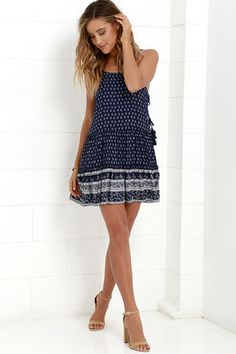 Wildflower Bouquet Navy Blue Print Lace-Up Dress at Lulus.com!