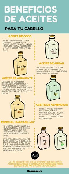 The good thing about using hair oils once a week - Duapara Benefits of Hair Oils, Oil Properties. In the article I ody you a recipe to take care of your hair para el cabello Beauty Care, Beauty Skin, Beauty Hacks, Hair Beauty, Curly Hair Tips, Curly Hair Styles, Natural Hair Styles, Facial Tips, Cabello Hair