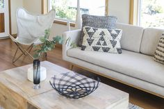 using texture on a neutral sofa to add warmth