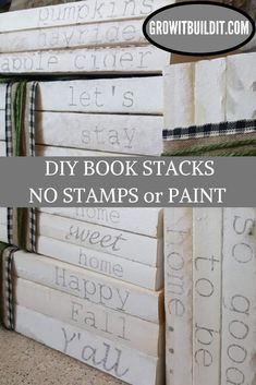 Hand Stamped Book Stacks are SO easy to make, and they are the perfect personalized farmhouse decor! Check out my DIY tutorial so that you can start making your own Hand Stamped Book Stacks, and don't forget that these also make great gifts! Wooden Books, Painted Books, Wooden Diy, Diy Old Books, Old Book Crafts, Diy Vintage Books, Recycled Books, Craft Books, Farmhouse Books