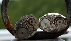 Steampunk Cufflinks Watch Part Gorgeous Matching  Elgin 17 Jeweled, Watch Part Cufflinks,  Oval, Silver, Watch Movement, Steampunk.Cuff Link. $27.00, via Etsy.