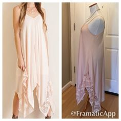 """Lace Handkerchief Dress This is a very cute NWT Crinkle Handkerchief Dress in a light peach/blush color. Color is true to my last 3 pics. Bottom sides are lined with a pretty lace detail. Has inner lining and adjustable straps. Material is 100% rayon. ⚜Please see my """"reasonable offers"""" listing at the top of my page before submitting an offer⚜Thank you Boutique Dresses"""
