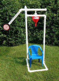 """Fun Funnel"" (Kids' Dunk Tank) by KO Water Games - sold on Amazon  ($129);  chair not included;  this one is for smaller children;  funnel holds 2 quarts of water"