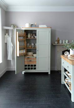 Pantry Organisation, Pantry Ideas, Organization, Kitchen Larder Cupboard, Living Room Inspiration, Kitchen Inspiration, Bungalow Kitchen, Freestanding Kitchen, Kitchen Storage Solutions