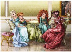 Elsa, Anna, Merida and Moana Waialiki from the upcoming movie Moana.