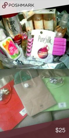 Gift Basket $25 Basket filled with lots of different types of beauty products comes with a gift bag ready to give as a gift. BBW sweet pea lotion, sugar cookie bubble bath, body wash, lotion gift set, body spray, Rue 21 Fallen Vixen perfume, Pure Silk shaving cream, Pure Silk razors. Other