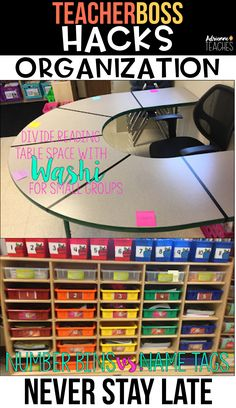 TeacherBoss Hacks: Classroom Organization Improve your classroom organization with these easy and simple hacks that will keep you from staying late in your classroom. Classroom Hacks, First Grade Classroom, New Classroom, Kindergarten Classroom Organization, Second Grade Teacher, Classroom Design, Speech Classroom Decor, Highschool Classroom Decor, Preschool Cubbies