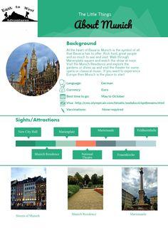 Everything you need to know about Munich.  #Cheatsheet #infographic #travel #travelinfo #travecheatsheet #cheatsheetmunich