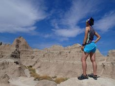 Japanese runner Tajima Rika at the Badlands National Park prior to the World Rogaining Championships in South Dakota. Tajima is a fan of the Simple Hydration Water Bottle and uses it on her waistband.