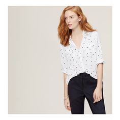 9f36dcf4d13 LOFT Starry Utility Blouse ( 60) ❤ liked on Polyvore featuring tops