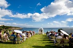 Wedding on the green field over the beach!