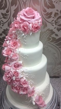 Pink Cascading Rose Wedding Cake