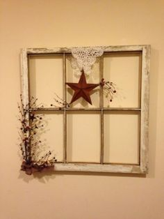 Primative Farm House Decor~Old Window Frame.