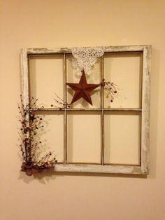 Primative Farm House Decor~Old Window Frame.