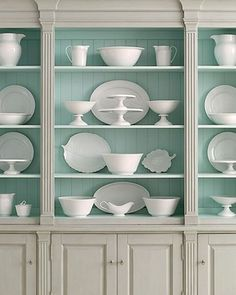 This light blue color is perfect for the back of a bookshelf or inside a hutch with white dishes. (Paint color info in the post) Benjamin Moore Wythe Blue, Deco Originale, White Dishes, Blue Dishes, White Plates, Glass Collection, Perfume Collection, Herringbone Backsplash, Beadboard Backsplash