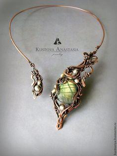 """Купить Колье wire wrap """"Загадочный цветок"""" из меди и серебра - wire wrap, metalsmith, медь"""