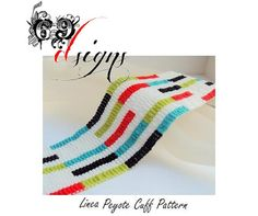 Linea - Peyote Beaded Cuff Bracelet Pattern - PDF File (Buy 2 patterns get one FREE)