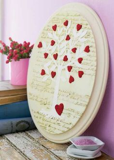 "Flirty Valentine's Projects - 14"" tall unfinished wood plaque, paint it cream.  Put script paper on it.  they SAY the tree can be downloaded from countryhome.com (this is from a 2008 article so I don't know), cut out, ModPodge.  Cut out small hearts from red felt, add sparkle w/tiny micro-beads.  Glue onto plaque.  Voila"