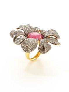 Loren Jewels Ruby & Diamond Large Flower Ring - originally $5,280 now $2,120