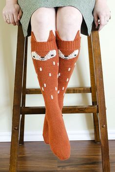 Ravelry: Fox in Socks pattern by Sheila Toy Stromberg - fingering weight Crochet Socks, Knitted Slippers, Knitting Socks, Hand Knitting, Knit Crochet, Crochet Granny, Knitting Machine, Knit Socks, Loom Knitting Patterns