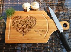 ikb511 Personalized Cutting Board Wood wooden wedding gift anniversary date heart tree