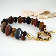 Tigers Eye Bracelet Gemstone Gold Red and Black by HCJewelrybyRose, $20.00  #hoha