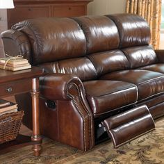 This chesterfield style sofa has classic hand button tufted Chesterfield design. Teal Leather Sofas, Leather Sofa Set, Leather Furniture, Sofa Furniture, Sectional Sofa With Recliner, Leather Recliner Chair, Leather Couch Decorating, Upholstered Sofa, Nailhead Trim