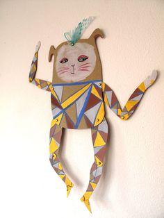 Geometric Rabbit Decoration  / Hinged Beasts Series.