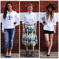 #PushWears with Sarah, Victoria and Brittany; classic shirts styled with boyfriend jeans, a floral skirt and a little black mini.