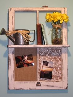 DIY Vintage Window Frame Shelf.. SO cute! must make this...