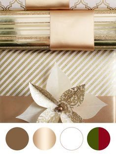 Party palette: Glam gold and copper, bright white, rich red and deep green.