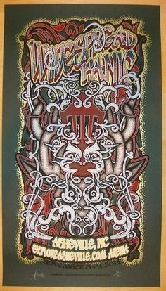 2013 Widespread Panic - Asheville Red on Green Variant Concert Poster by JT Lucchesi #PanicAttackArt