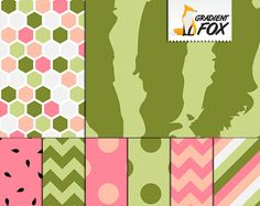 Watermelon Digital Papers - Summer Printable Paper - Pink and Green Paper Pack - Digital Download by GradientFox on Etsy